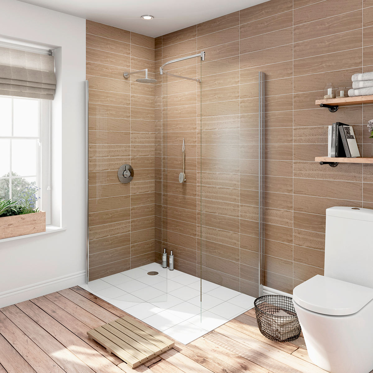 Design a walk-in shower
