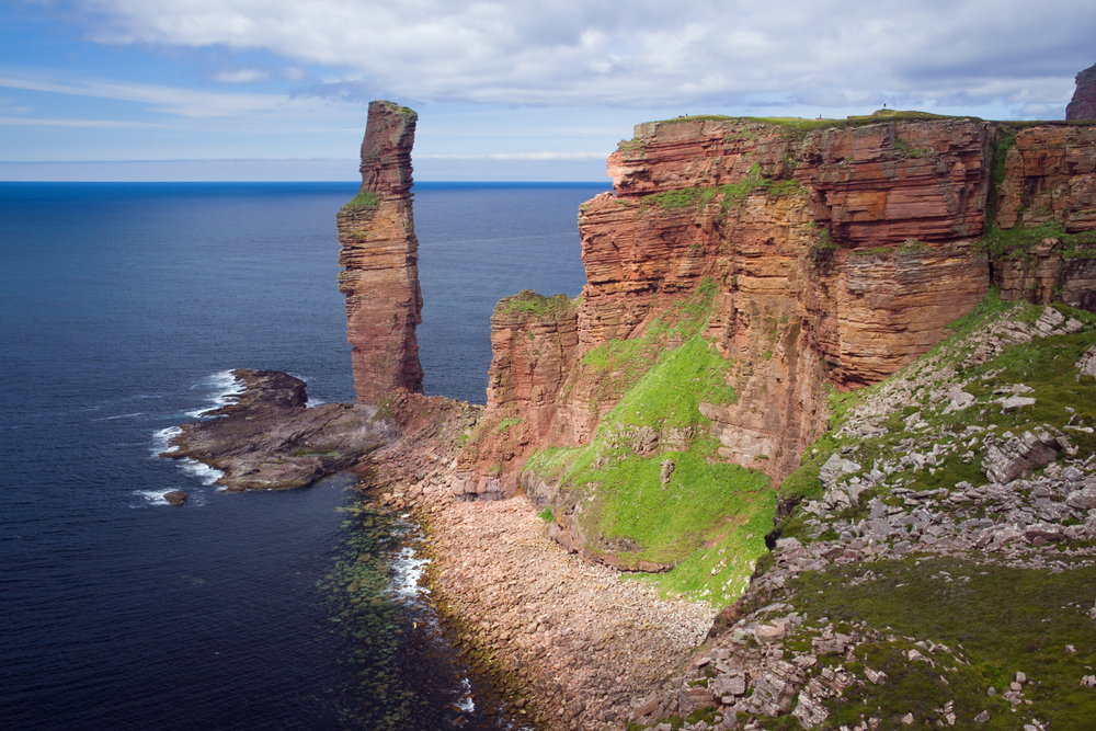 The Old Man of Hoy, rising 137 metres from the waters off Hoy, Orkney