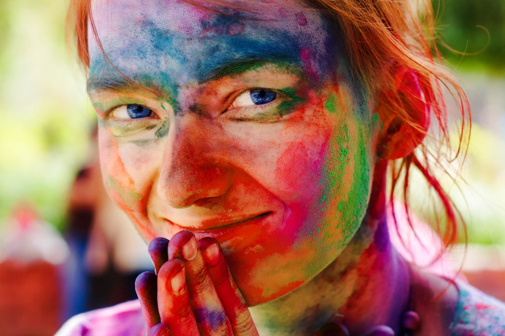 Holi, festival of colours, painted face