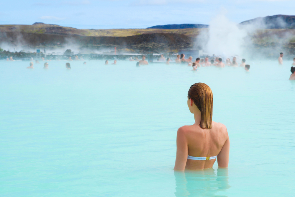 swimming in the blue lagoon