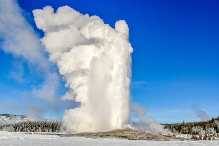 Wait for Old Faithful at Yellowstone National Park